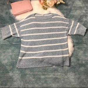 GAP Sweaters - Gap Blue & White Striped Short Sleeved Sweater